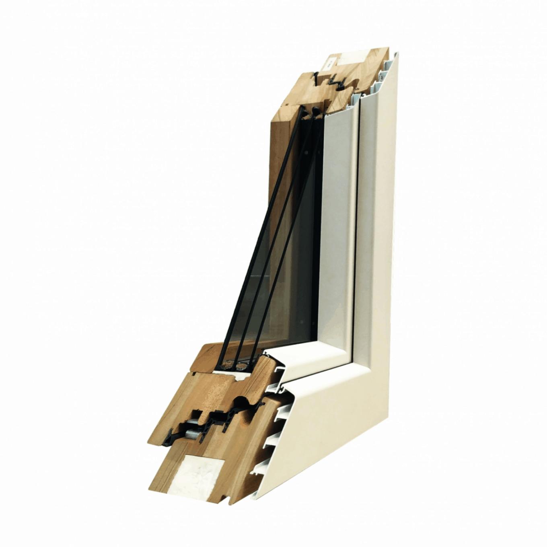 Serie 125 Excel - Serramento in legno lamellare rivestito di alluminio