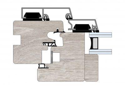 Serramenti in legno-alluminio - Profilo Serie 90 - Cianfrinato - Cobola
