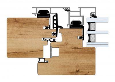 Serramenti in legno-alluminio - Profilo Serie 90 - Complanare - Cobola